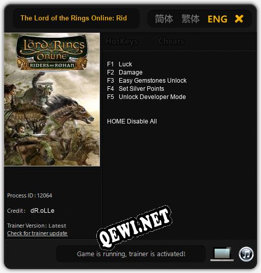 The Lord of the Rings Online: Riders of Rohan: Читы, Трейнер +5 [dR.oLLe]